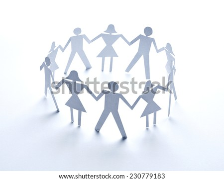 close up of  paper people couple on white background - stock photo