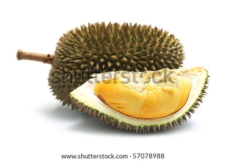 Close up of peeled durian isolated on white background. - stock photo