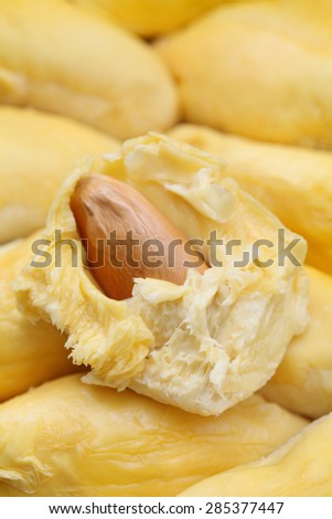 Close up of peeled yellow durian flesh. - stock photo