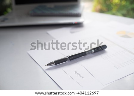 Close-up of pen on contract,vintage effect. - stock photo