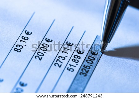Close-up Of Pen On Total Amount Due In Invoice  - stock photo