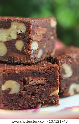 Close up of piece of brownies in a dessert plate - stock photo