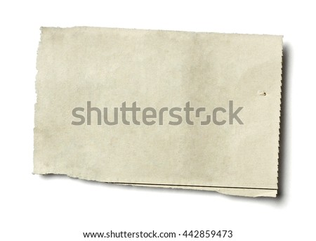 close up of piece of news paper on white background - stock photo