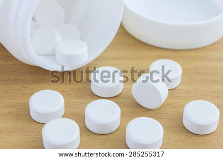 close up of pills and medicine bottle - stock photo