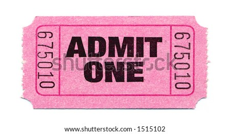 Close-Up of Pink General Admission Ticket - stock photo