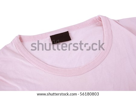 close-up of pink t-shirt and blank tag - stock photo