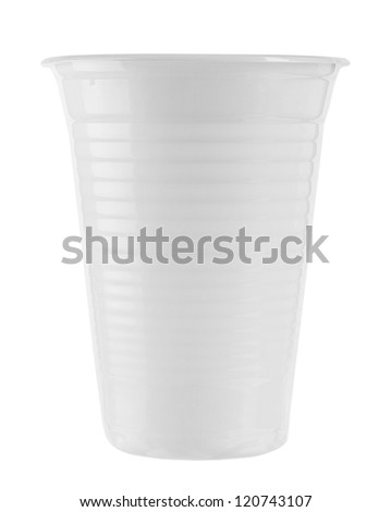 Close up of plastic cup on white background - stock photo