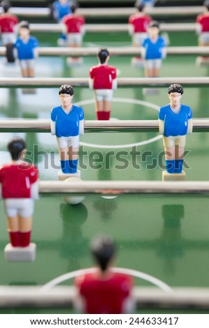 Close Up Of Players In Table Football Team - stock photo