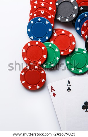 Close up of poker cards and chips - stock photo