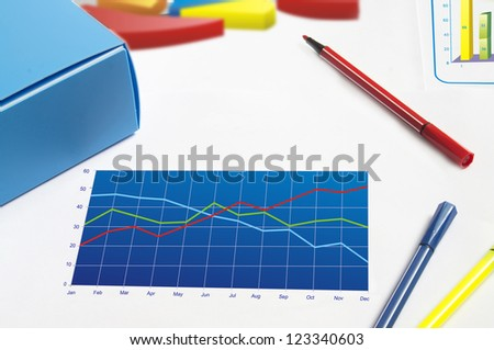 Close-up of polyline financial data - stock photo