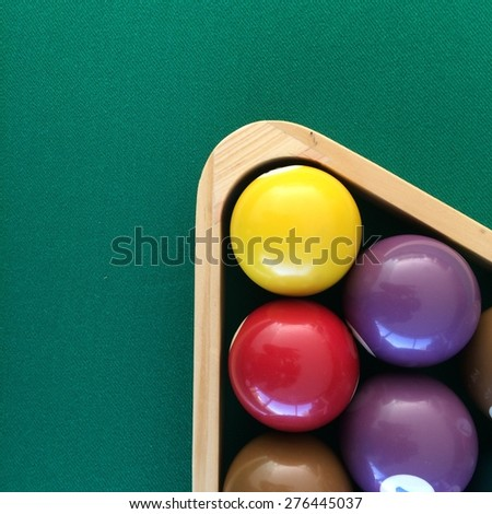 Close up of pool table - stock photo