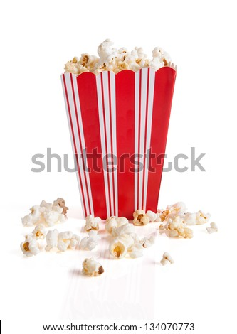 Close-up Of Popcorn Bucket Isolated Over White Background - stock photo
