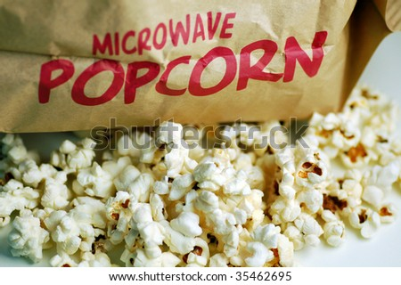 Close up of popcorn for microwave. - stock photo