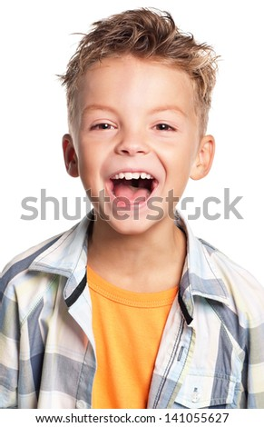 Close-up of portrait happy boy screaming, on white background - stock photo