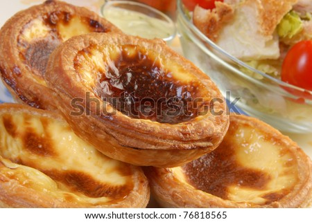 Close up of portuguese  egg  tart - stock photo