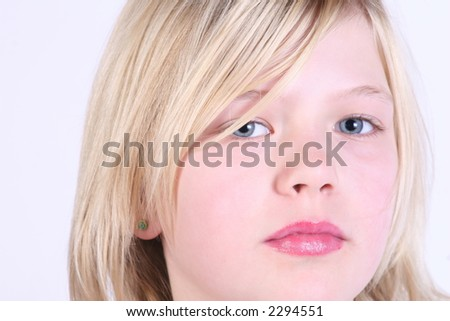 close up of pretty young girl - stock photo