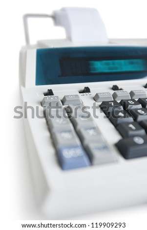 Close-up of pushbuttons of financial calculator - stock photo