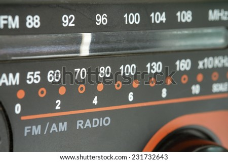 Close up of radio tuner dial scale. - stock photo