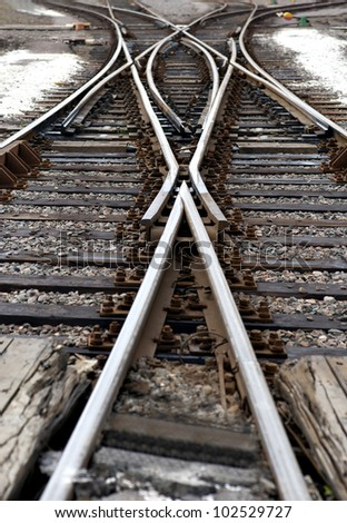 Close up of railway junction with switch - stock photo