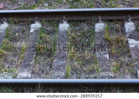Close up of railway tracks - stock photo