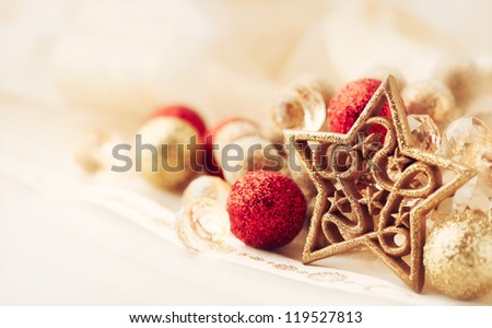 Close up of red and golden christmas decor - stock photo