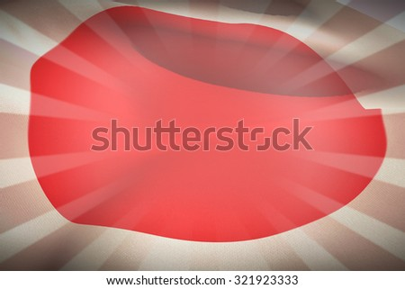 Close-up of red circle on japan flag against linear design - stock photo