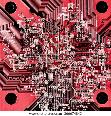 Close-up of red circuit board. Top view point. - stock photo
