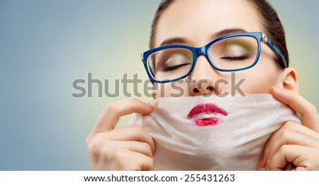 Close up of red female lips - stock photo