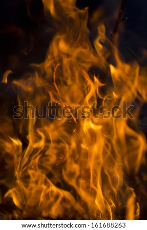 close up of red flames - stock photo