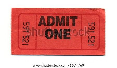 Close-Up of Red General Admission Ticket Isolated on a White Background. - stock photo