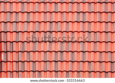 close up of red roof texture - stock photo