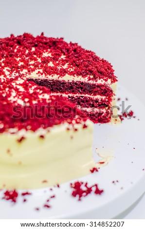 Close up of red velvet cake. - stock photo