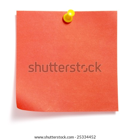 close up of reminder on white background with clipping path - stock photo