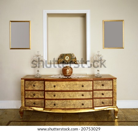 close up of retro chest of drawers - stock photo