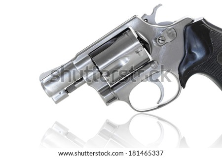 Close up of revolver with clipping path - stock photo