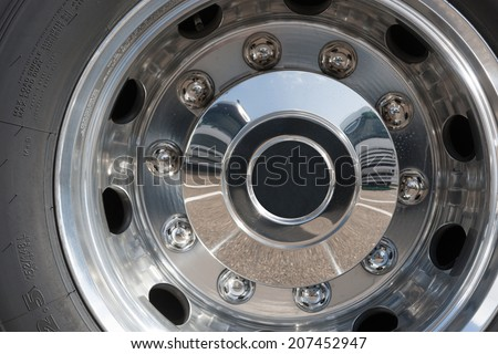 Close up of rims from a truck - stock photo