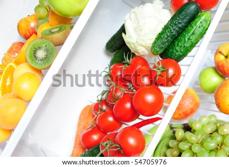 Close-up of ripe vegetables and fruit - stock photo