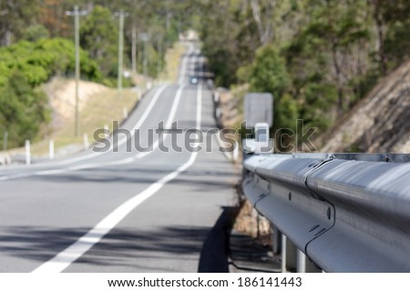 Close up of Road Guard Rail - stock photo