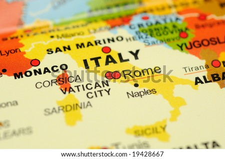 Close up of Rome, Italy on map - stock photo