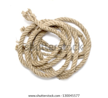 close up of rope part , on white background - stock photo