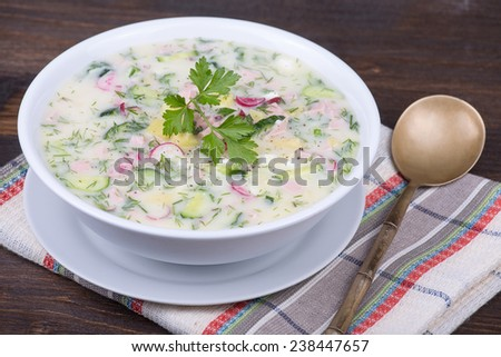 Close-up of russian cold vegetable soup on yogurt, sour-milk base -  okroshka - stock photo