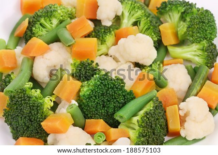 Close up of salad with broccoli. Whole background. - stock photo