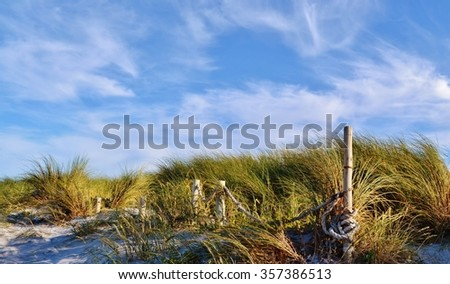 Close up of sand dunes with dune grass - stock photo