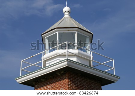 Close Up of Santa Cruz Lighthouse Tower Horizontal With Copy Space - stock photo