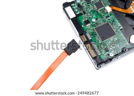 close up of SATA hard drive - stock photo