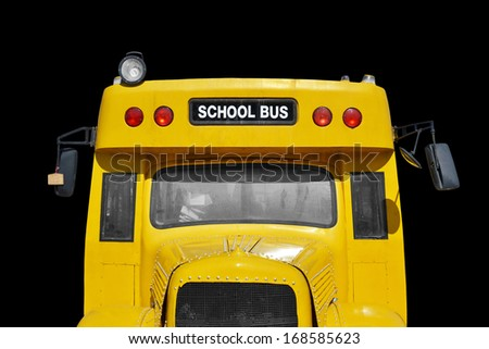 close up of school bus, isolated - stock photo