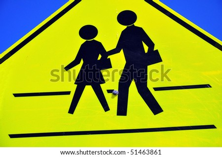 """Close up of """"School Crossing Sign"""" - stock photo"""