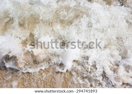 Close up of sea waves splashing on shore. Beautiful natural background of sea waves - stock photo