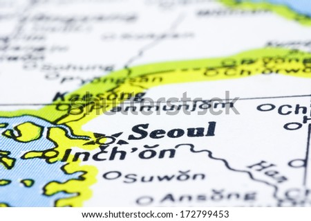 Close up of Seoul on map, capital city of South Korea. - stock photo