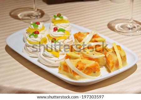 Close up of served desert in restaurant - stock photo